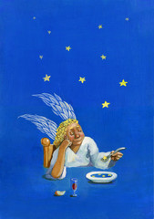 a dish of star acrylic painting humorous surreal illustration