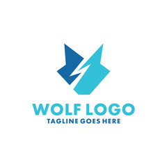 Wolf Logo Design Inspiration. Flat And Modern Icon. Face Animal Character Symbol. Fox Graphic Vector. Royal And Unique Logotype. Emblem Animal For Company,Business and Brand.