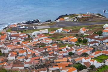Vila do Corvo village and airstrip, Corvo island, The Azores, Portugal.