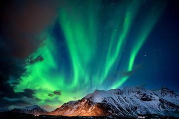 grünes Nordlicht am Polarkreis