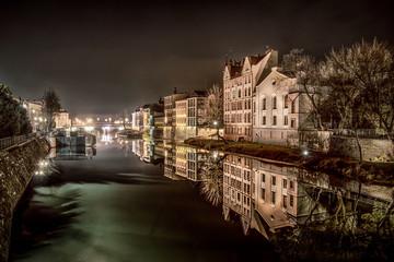 kanał Młynówka w Opolu i Opolska Wenecja nocą