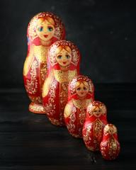 Beautiful Russian traditional nesting dolls matreshka