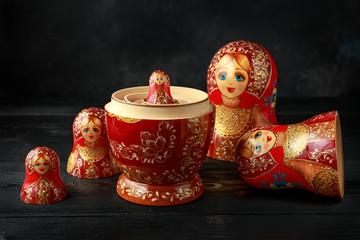 Beautiful Russian traditional nesting dolls matreshka