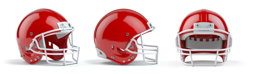 Set of red  american football helmets isolated on white background.
