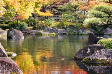 Vibrant colors and spectacular nature at Koko-en Gardens in Himeji, Japan.
