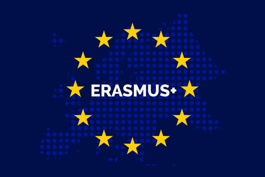 Erasmus on European union map with europe dots shaped map