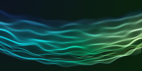 Fotoväggar - Colorful Green and Blue Wavy Particle Background