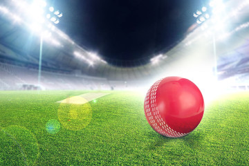 Cricket stadium with ball in lights and flashes 3d render