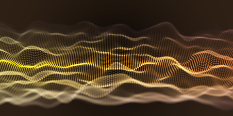 Fotoväggar - Yellow Wavy Particle Surface Background