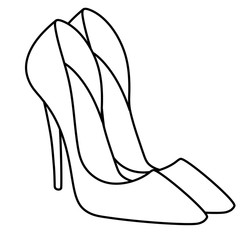 glamor woman new stylish shoes illustration isolated image object coloring page