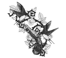swallows with pirate gun vector tattoo by hand drawing.Beautiful bird on gun and rose background.Black and white graphics design art highly detailed in line art style.Swallows for tattoo or wallpaper.