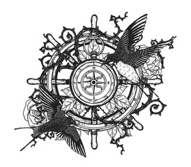 swallows with steering wheel vector tattoo by hand drawing.Beautiful bird on compass and rose background.Black and white graphics design art highly detailed in line art style.Swallows for tattoo or wa