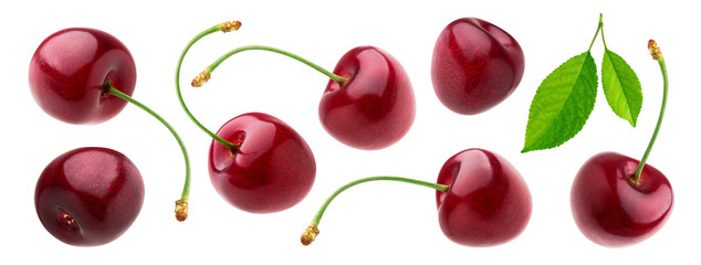 Cherry isolated on white background with clipping path, fresh cherries with stems and leaves Fotobehang
