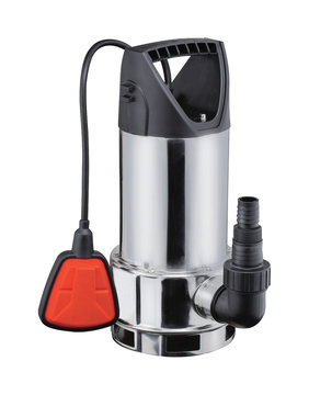 Steel drainage pump for pumping water, with automatic shut-off float, isolated white background. Flooded premises, pits, wells, basements. Application private homes, country house, village, cottage.