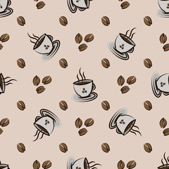 coffee beans and cups. Vector Seamless pattern