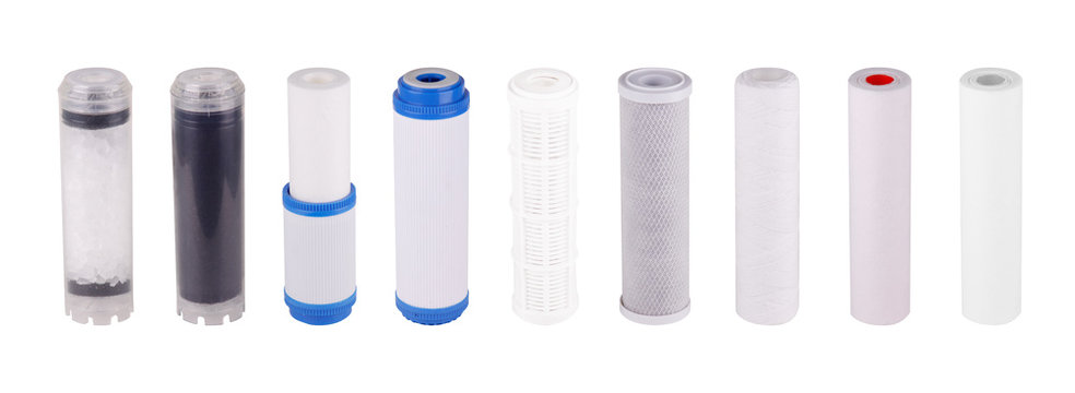 Set filters isolated white background. Polypropylene Foamed Pressed granulated carbon Cation exchange resin, Polyphosphate coal postfilter with silver ions. Reverse Osmosis Membrane. Purifies water.