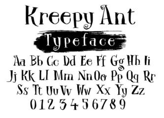 Fancy fairy tale script font alphabet