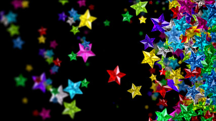 Colourful glass stars on the dark background