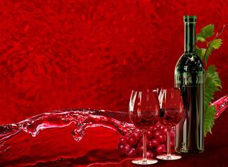 Bottle, wineglass, grapes and dynamics splash wine
