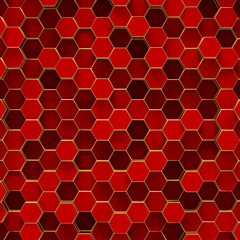 Abstract minimalistic background with red hexagons