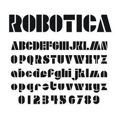 Robotica tech font alphabet