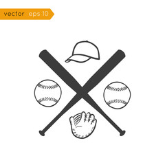 Vector black icons: baseball sports equipment