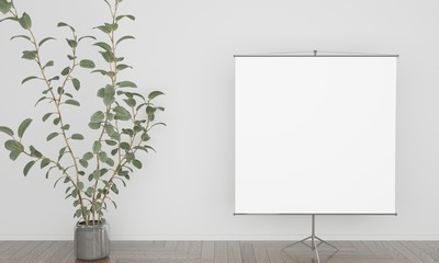White background with projection screen and a big plant 3D illustration