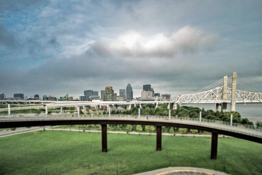 Louisville Kentucky clouds from big four bridge