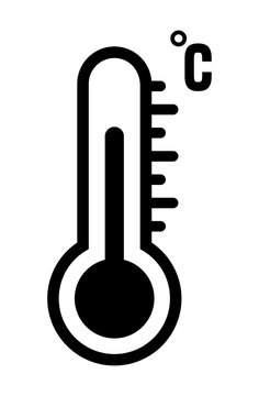 Black thermometer icon