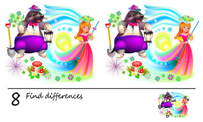 Logic puzzle game for children. Need to find 8 differences. Printable page for baby brainteaser book. Illustration of Thumbelina and the mole. Developing skills for counting. Vector cartoon image.