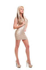 Young girl in tight short dress