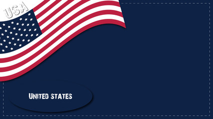 USA background with American flag in navy blue background
