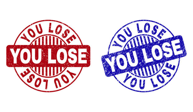 Grunge YOU LOSE round stamp seals isolated on a white background. Round seals with grunge texture in red and blue colors. Vector rubber overlay of YOU LOSE label inside circle form with stripes.