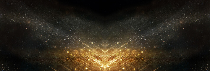glitter vintage lights background. black and gold. de-focused Wall mural