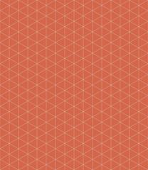 Isometric grid design on tangerine orange background. Seamless vector pattern with modern vibe. Great as a blender and coordinate, fabric, packaging, stationery, home decor, linen