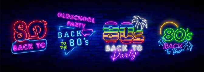 Neon 80's collection neon signs vector. Back to the 80s design template concept. Neon banner background design, night symbol, modern trend design. Vectro Illustration Wall mural