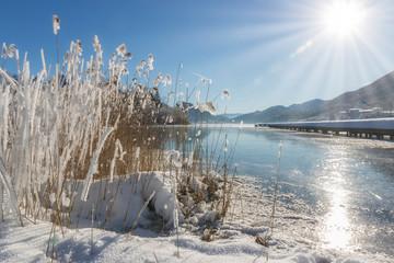 Keuken foto achterwand Schilderkunstige Inspiratie Scenic panorama view of an idyllic landing stage