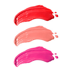 Smudge lipsticks isolated on white background. Makeup lipstick. ( Clipping path )