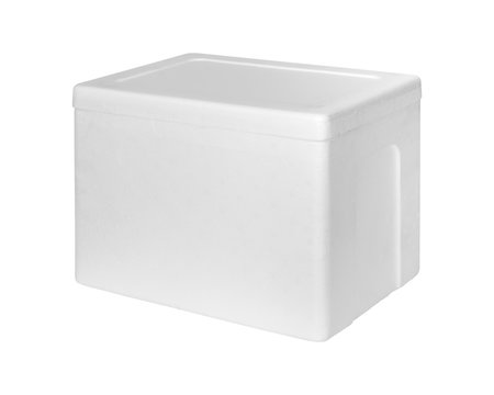 Closed Styrofoam storage box isolated on white background. Insulation box for delivery. ( Clipping path )