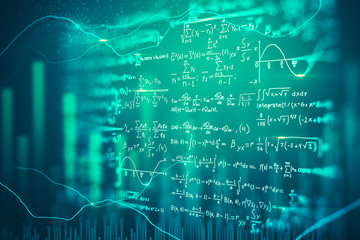 Digital mathematical formulas background