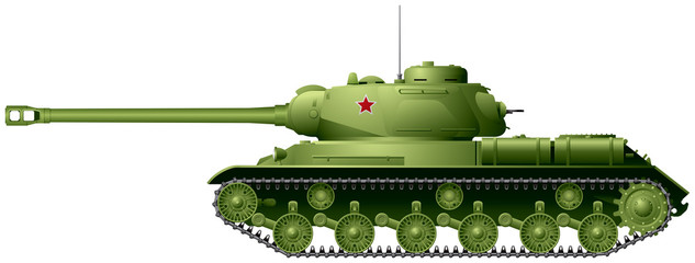Tank, World War II Soviet heavy tank IS-2 or IS-122 from Joseph Stalin IS tank series, weapon realistic vector illustration based on original ISU-122 photo with some changes