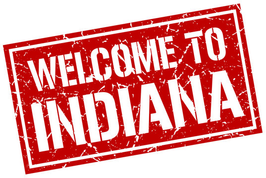 welcome to Indiana stamp