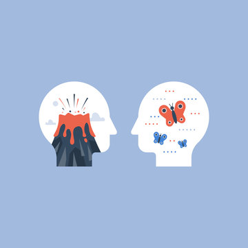 Anger or calm comparison, mental stress concept,mood swing, positive or negative emotions