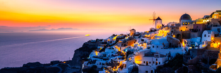 View of Oia the most beautiful village of Santorini island. Wall mural