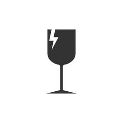 Fragile icon packaging symbol. Vector illustration, flat design.