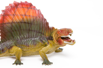 Dinosaur toy on white background Wall mural