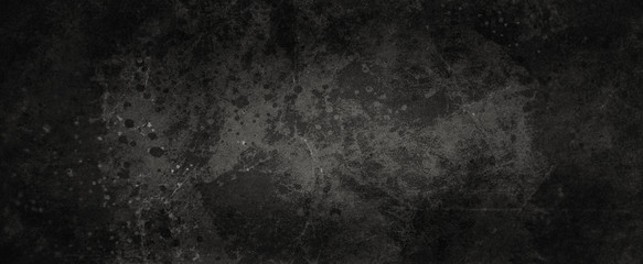 Old black grunge background texture with lots of grungy paint spatter and drips, messy marbled and cracked design elements in old vintage banner  Wall mural