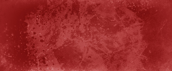 Red grunge background texture with lots of grungy paint spatter and drips, messy marbled and cracked design elements in old vintage template  Wall mural
