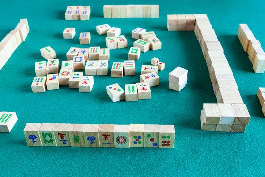 playing in mahjong board game