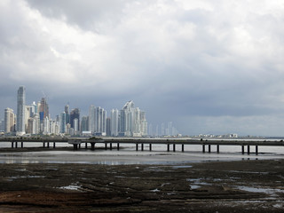 Panama City Skyline, seen from Casco Viejo, Panama City.